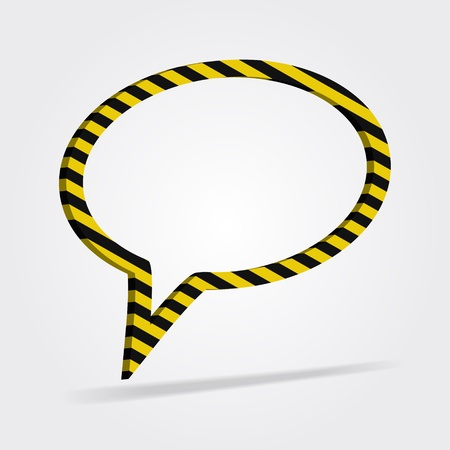 Yellow and black striped speech bubble  3d, modern style,  design element  Vector