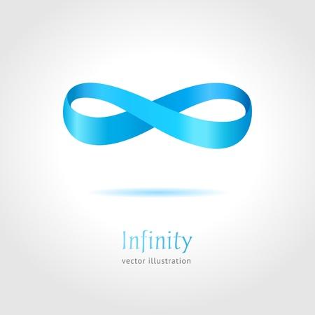 simbolo infinito: Resumen s�mbolo de infinito azul sobre fondo gris concepto de negocio creativa Vectores