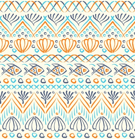 Tribal sea ethnic seamless pattern Vector