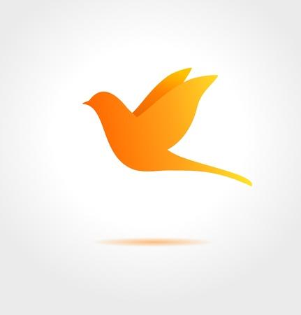 Orange bird on gray background  Abstract  symbol Stock Vector - 21325312