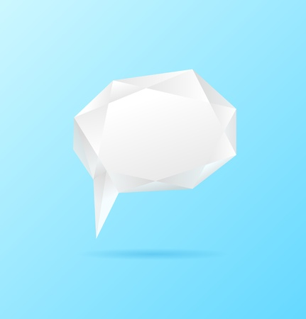 scrunch: Abstract white geometric speech bubble on blue  background   Illustration