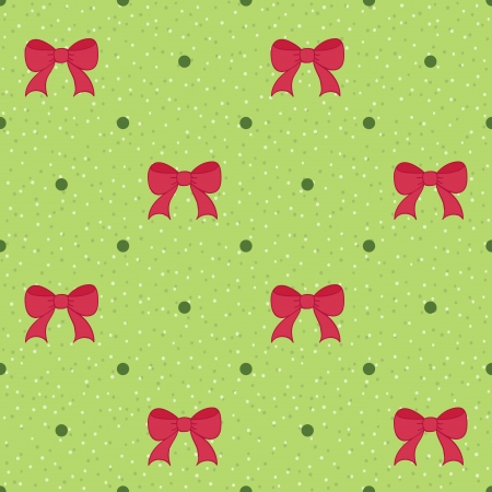 Green seamless pattern with red bows  Christmas background Vector