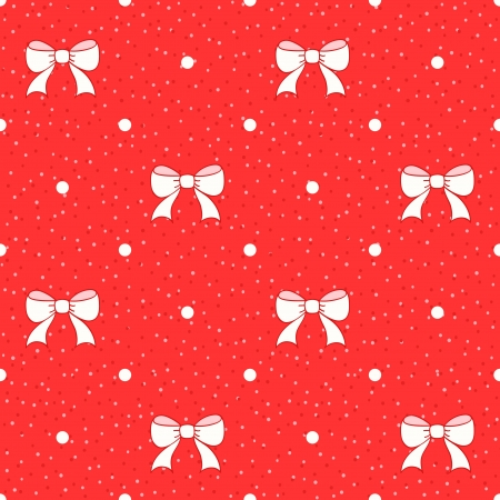 Red seamless pattern with white bows  Holiday background Vector