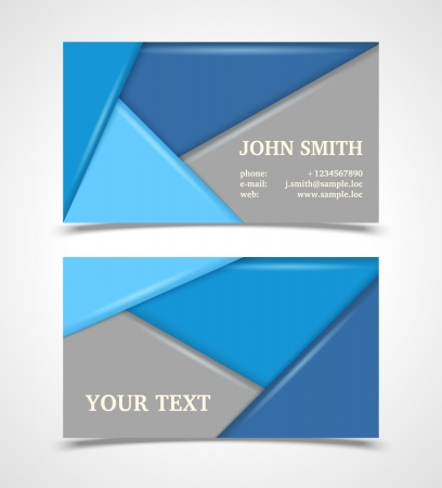 Blue and gray modern business card template Stock Vector - 21781932