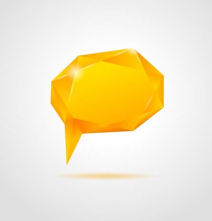 Abstract orange shiny geometric speech bubble on gray background  Vector Illustration Stock Vector - 21781936
