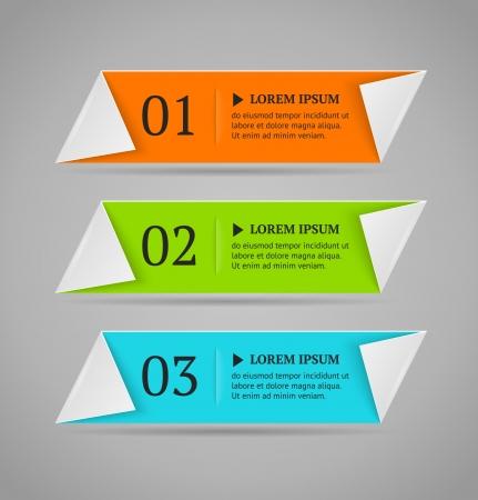 水平カラフル オプション バナー テンプレート ベクトル図折り紙のスタイル