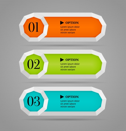 Horizontal colorful options banner buttons template  Vector illustration Vector
