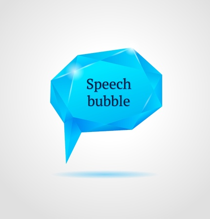 Abstract blue shiny geometric speech bubble on gray background  Vector Illustration Illustration