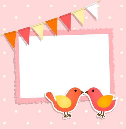 Holiday card with festive flags and birds and place for your text or photo