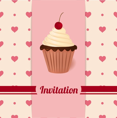 Vintage vector invitation with cherry cream cake  Heart background - seamless pattern  Vector