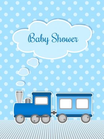 Babyparty für Jungen mit Aufkleber Zug Standard-Bild - 21781947