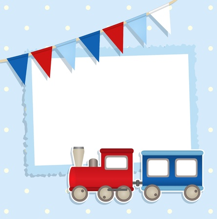 baby boy shower: Holiday card with festive flags and sticker train and place for your text or photo Illustration