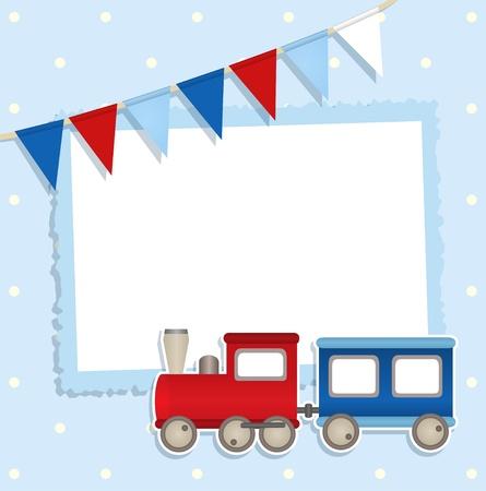 invitacion baby shower: Tarjeta de vacaciones con banderas festivas y tren pegatina y lugar para su texto o foto Vectores