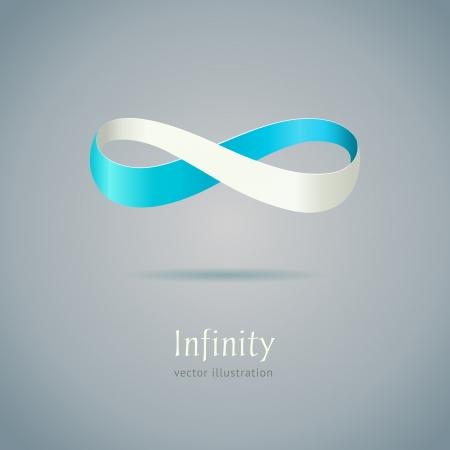 Abstracte blauwe symbool van de oneindigheid op grijze achtergrond Stockfoto - 21782251