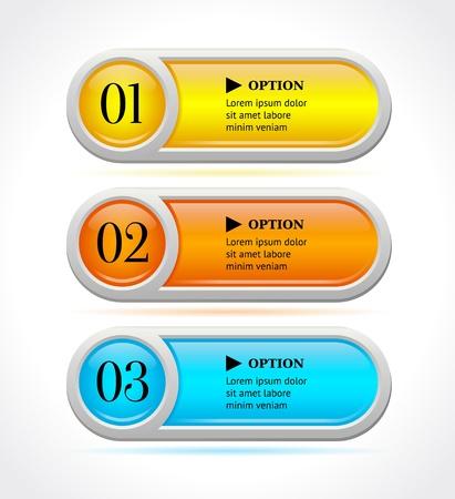 水平カラフル オプション バナー ボタン テンプレート イラストを輝き  イラスト・ベクター素材