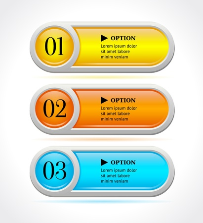 Shine horizontal colorful options banners buttons template  illustration