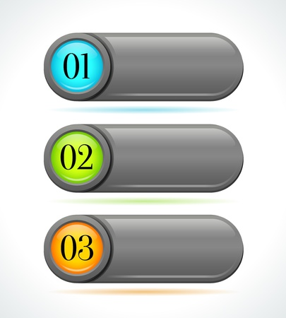 Glossy gray horizontal options banners buttons on white background  template Stock Vector - 22679891