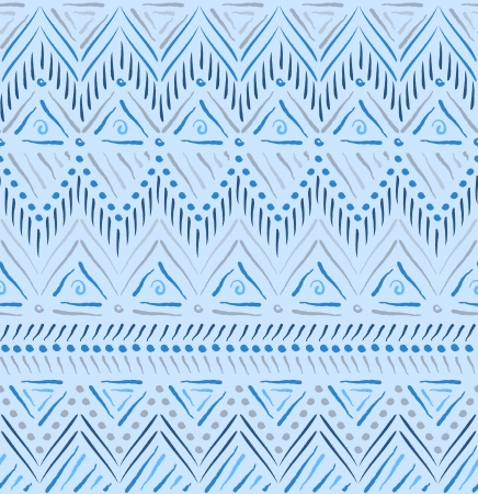 african grey: Blue tribal ethnic seamless pattern