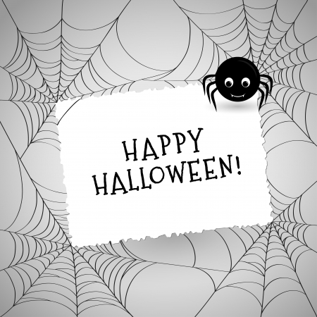 spider webs: Cute spider, webs and white card over gray background  Invitation or greeting card with place for your text