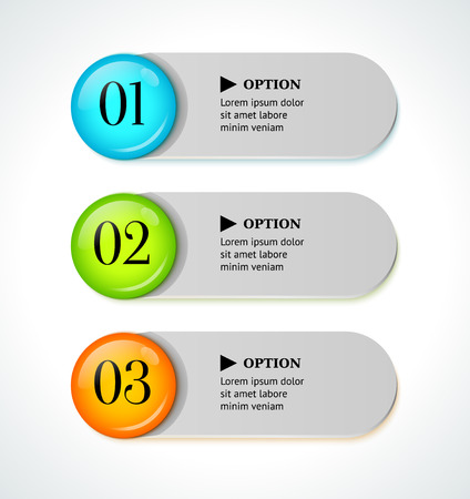 Shine horizontal colorful options banners buttons template  Vector illustration Vector