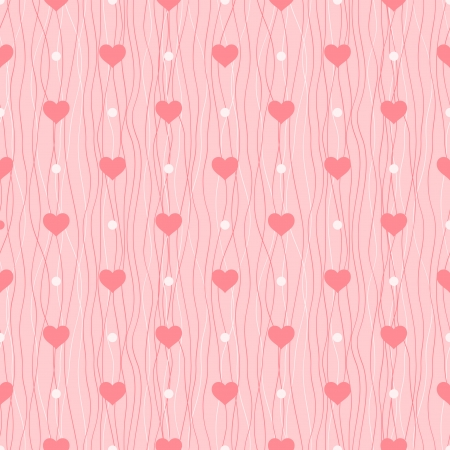 Love seamless pattern  Red hearts and polka dot on pink background