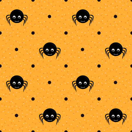 Orange seamless textured polka dots pattern with spiders Vector