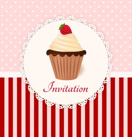 Vintage invitation card with strawberry cream cake Stock Vector - 22679920