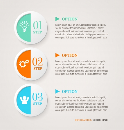 Nummerierte Kreise Infografik Optionen Banner Vorlage Retro-Stil Standard-Bild - 22679922