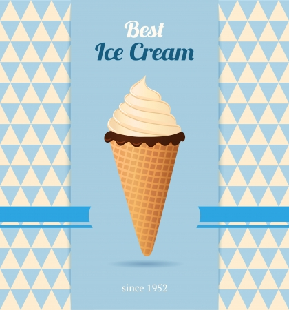 Vintage illustration with ice cream  Vector