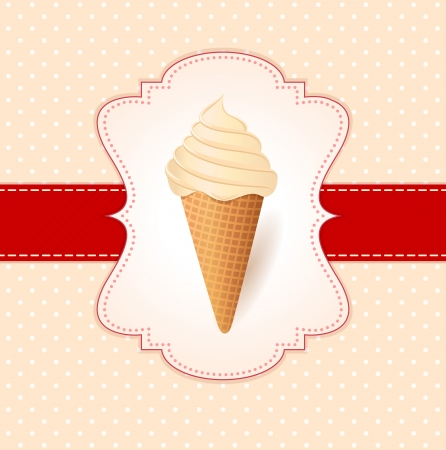 Vintage vector illustration with ice cream  Vector