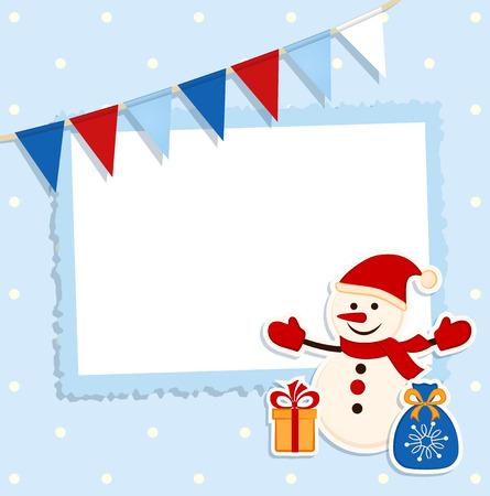あなたのテキストのための場所とお祝いフラグとステッカー雪だるまクリスマス カード