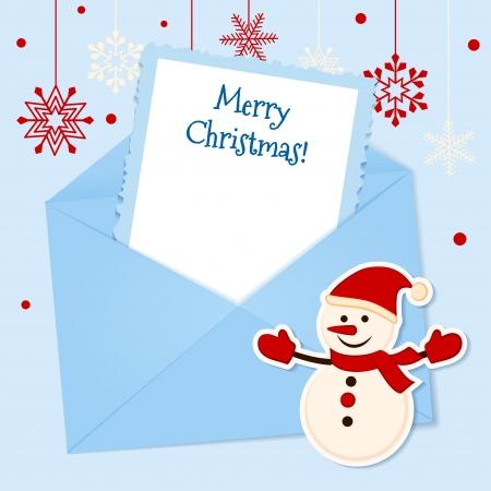 Kerstkaart met sticker sneeuwman en plaats voor uw tekst Stock Illustratie