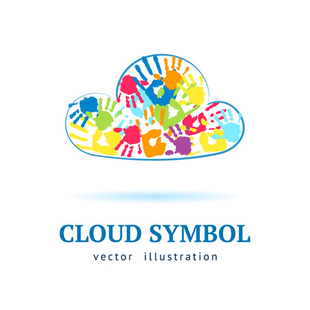 Cloud made from color hands on white background