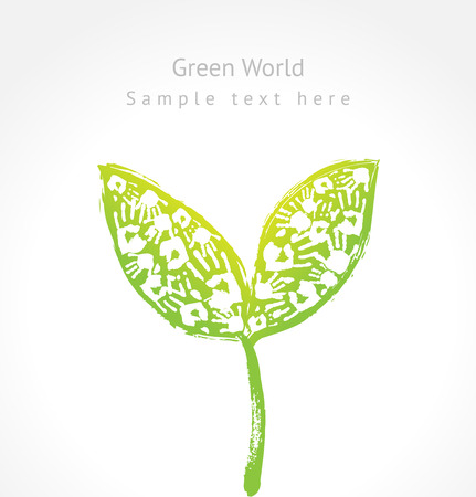 Green sprout with leaves made of handprint and sample text