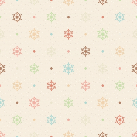 Retro seamless pattern  Color snowflakes and dots on beige textured background Vector