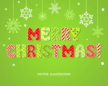 Christmas greeting card  Cute textured sticker letters on snowflakes background, vector illustration Vector