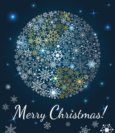 Christmas background  Planet made from snowflakes on dark blue background