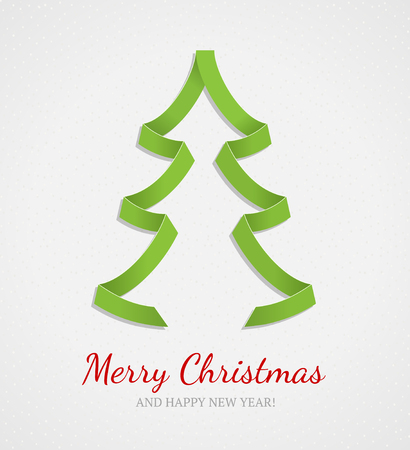 Christmas card  Green origami Christmas tree on gray textured background  Vector