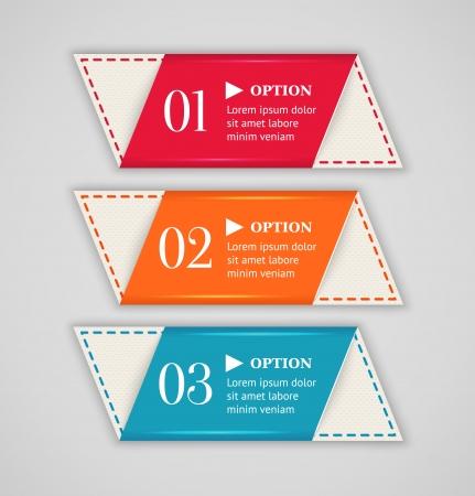 水平カラフルなバナー広告やラベルのテンプレート ベクトル図をオプションします。