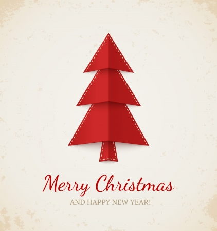 Christmas card  Red tree on beige textured  background Vector