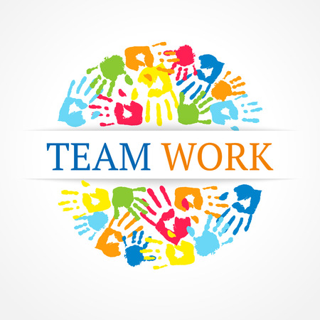 Team work symbol  Vector creative concept