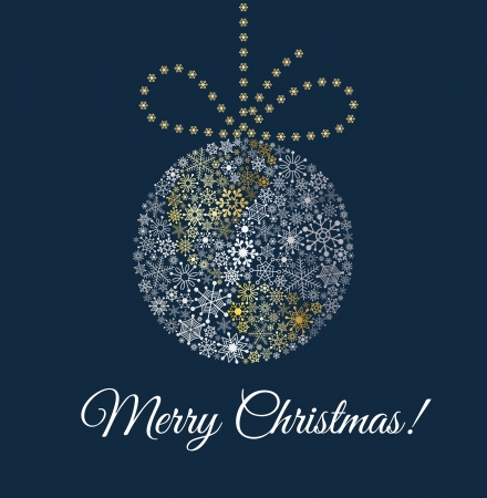 bright card: Christmas ball on dark blue background  Planet made from snowflakes with bow
