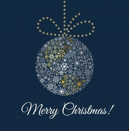 weihnachten gold: Weihnachtskugel auf dunkelblauem Hintergrund von Schneeflocken Planet mit Bogen gemacht Illustration