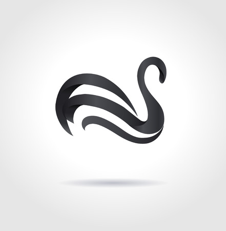 Black swan on gray background  Creative abstract symbol  Luxury sign  Vector