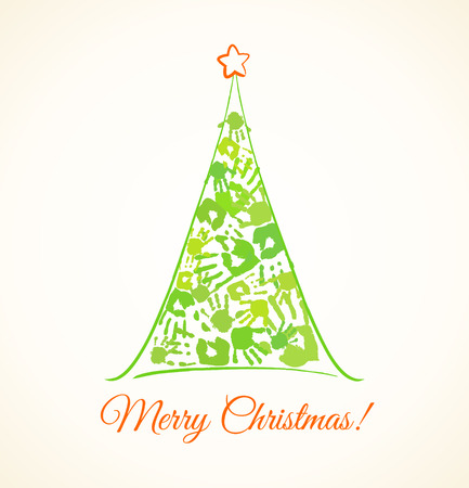 Green Christmas tree made of the handprints of father, mother and children Vector