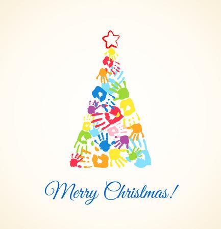 父、母と子供たちの手形作られたカラフルなクリスマス ツリー