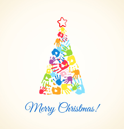 Colorful Christmas tree made of the handprints of father, mother and children Vector