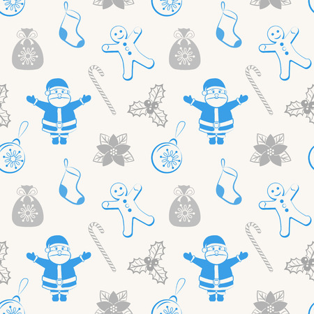Christmas seamless pattern with Santa and different christmas symbols Vector