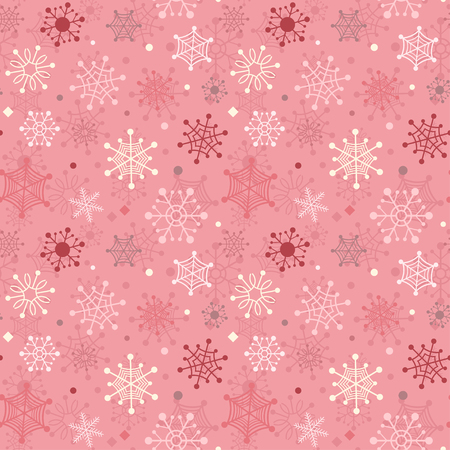 Red winter seamless background with color snowflakes Illustration
