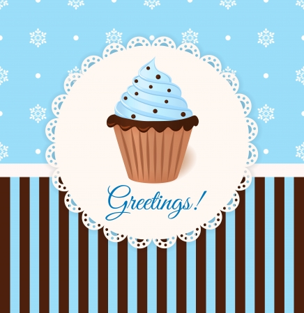 Vintage vector greetings card with cream cake  Blue snowflake background  Vector